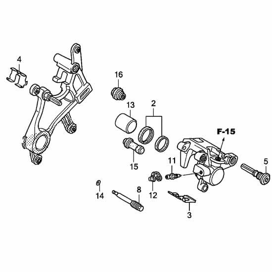 XLJOY Aftermarket Rear Brake Caliper for Honda CR 125R 250R 2002-2007,CRF 450X 2005-2017